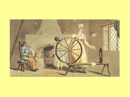 A woman spinning by hand in her own home in the eighteenth century.