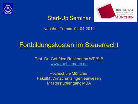 Start-Up Seminar Nachhol-Termin: