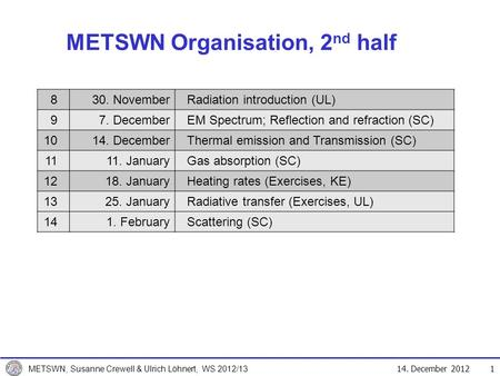 14. December 2012 METSWN, Susanne Crewell & Ulrich Löhnert, WS 2012/13 METSWN Organisation, 2 nd half 1 830. NovemberRadiation introduction (UL) 97. DecemberEM.