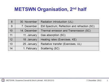 7. December 2012 METSWN, Susanne Crewell & Ulrich Löhnert, WS 2012/13 METSWN Organisation, 2 nd half 1 830. NovemberRadiation introduction (UL) 97. DecemberEM.