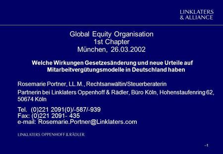 Global Equity Organisation 1st Chapter München,