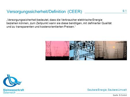 Versorgungssicherheit/Definition (CEER)