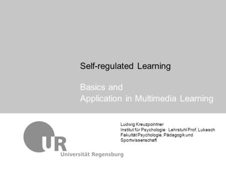 Self-regulated Learning