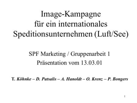 SPF Marketing / Gruppenarbeit 1 Präsentation vom
