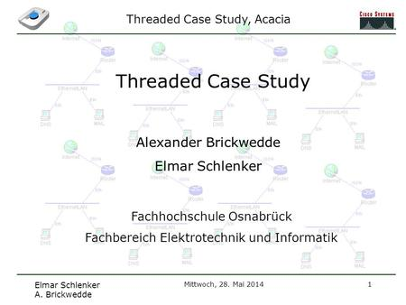 Threaded Case Study, Acacia Elmar Schlenker A. Brickwedde Mittwoch, 28. Mai 20141 Threaded Case Study Alexander Brickwedde Elmar Schlenker Fachhochschule.