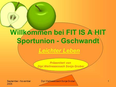 Dipl.Wellnesscoach Sonja GruberSeptember - November 2005 1 Willkommen bei FIT IS A HIT Sportunion - Gschwandt Leichter Leben Präsentiert von Dipl.Wellnesscoach.