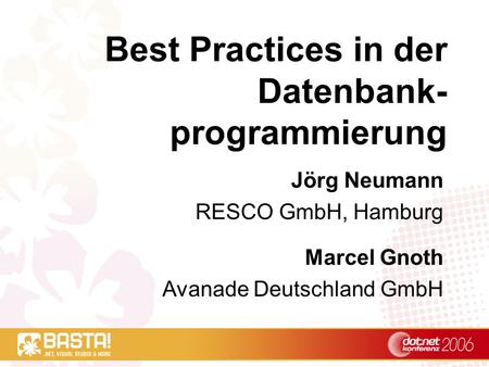 Best Practices in der Datenbank-programmierung