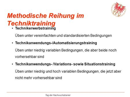 Methodische Reihung im Techniktraining