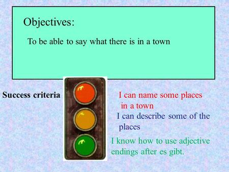 Objectives: Success criteria To be able to say what there is in a town I can name some places in a town I can describe some of the places I know how to.