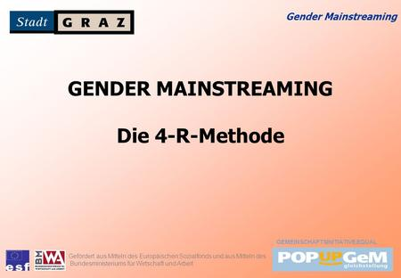 GENDER MAINSTREAMING Die 4-R-Methode