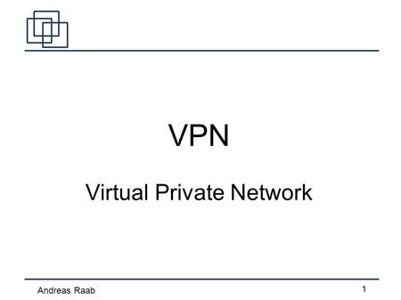 Andreas Raab 1 VPN Virtual Private Network. Andreas Raab 2 Inhalt Was sind VPNs Techniken und Protokolle PPTP IPSec SSL-VPN OpenVPN Hamachi.