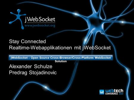 Stay Connected Realtime-Webapplikationen mit jWebSocket Alexander Schulze Predrag Stojadinovic jWebSocket – Open Source Cross-Browser/Cross-Platform WebSocket.