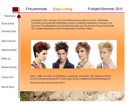 Easy Living Frisurenmode Easy LivingFrühjahr/Sommer 2011 Trendnews Short & Red Summer Style Ultra Feminin Madonnenlook Make up Modern Dandy Chaos Chic.