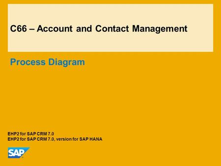 C66 – Account and Contact Management Process Diagram EHP2 for SAP CRM 7.0 EHP2 for SAP CRM 7.0, version for SAP HANA.