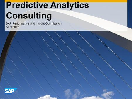 CONFIDENTIAL Predictive Analytics Consulting SAP Performance and Insight Optimization April 2012.