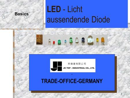 1 LED - Licht aussendende Diode Basics. TRADE-OFFICE-GERMANY. TRADE-OFFICE-GERMANY.