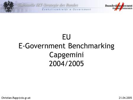 EU E-Government Benchmarking Capgemini 2004/2005.