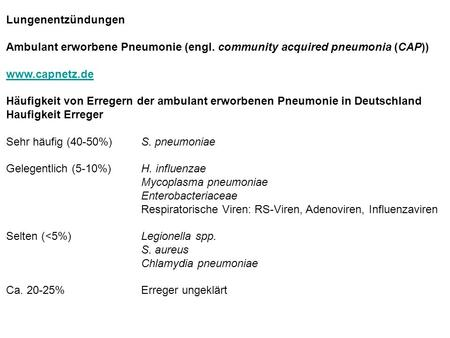Lungenentzündungen Ambulant erworbene Pneumonie (engl. community acquired pneumonia (CAP)) www.capnetz.de Häufigkeit von Erregern der ambulant erworbenen.