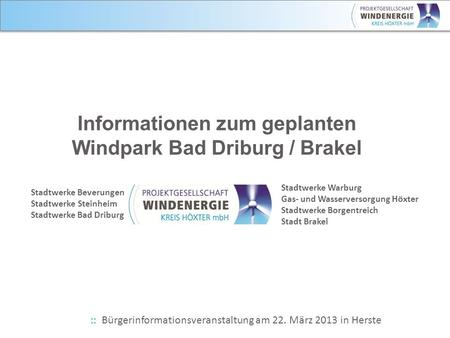 Informationen zum geplanten Windpark Bad Driburg / Brakel