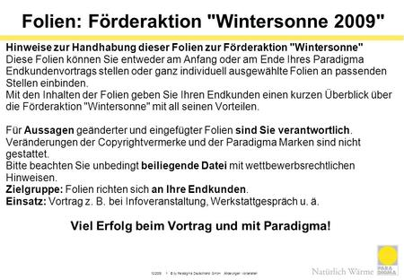 Folien: Förderaktion Wintersonne 2009
