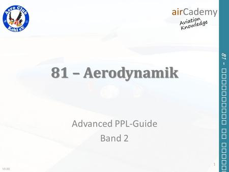 V3.00 81 – Principles of Flight 81 – Aerodynamik Advanced PPL-Guide Band 2 1.