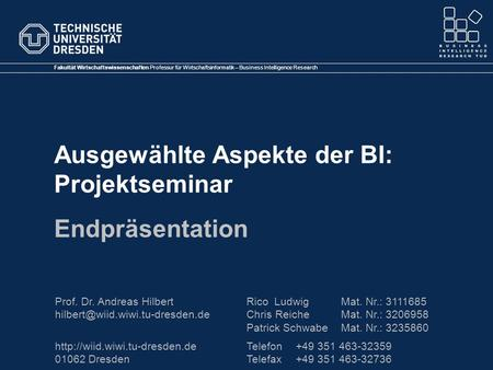 Fakultät Wirtschaftswissenschaften Professur für Wirtschaftsinformatik – Business Intelligence Research Prof. Dr. Andreas Hilbert