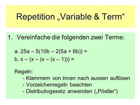 "Repetition ""Variable & Term"""