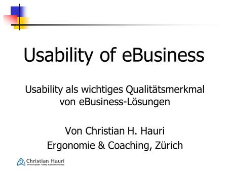 Usability of eBusiness