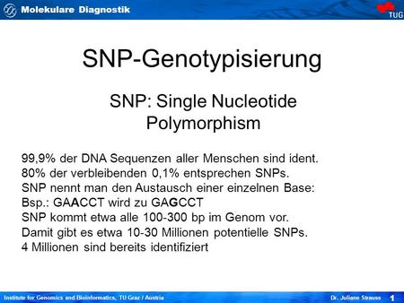 Molekulare Diagnostik 1 Institute for Genomics and Bioinformatics, TU Graz / Austria Dr. Juliane Strauss SNP-Genotypisierung SNP: Single Nucleotide Polymorphism.