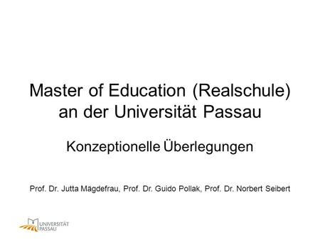 Master of Education (Realschule) an der Universität Passau