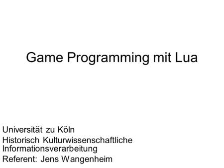 Game Programming mit Lua