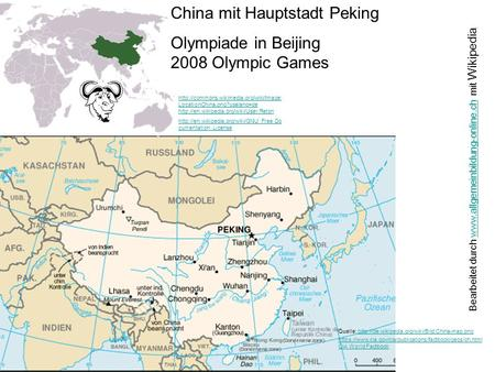 China mit Hauptstadt Peking Olympiade in Beijing 2008 Olympic Games