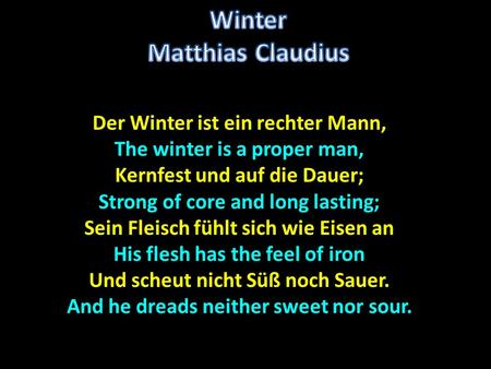 Winter Matthias Claudius