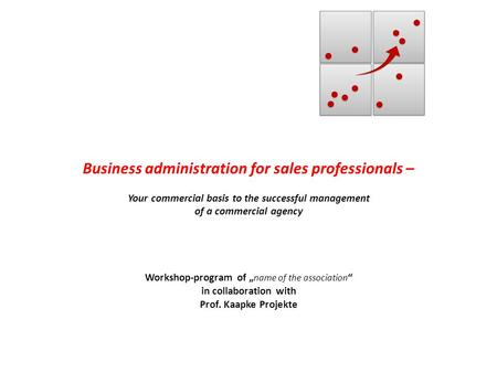 Business administration for sales professionals – Your commercial basis to the successful management of a commercial agency Workshop-program of name of.