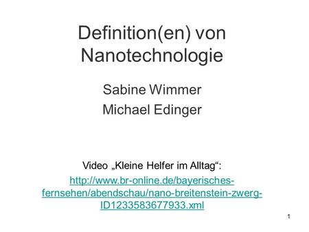 Definition(en) von Nanotechnologie