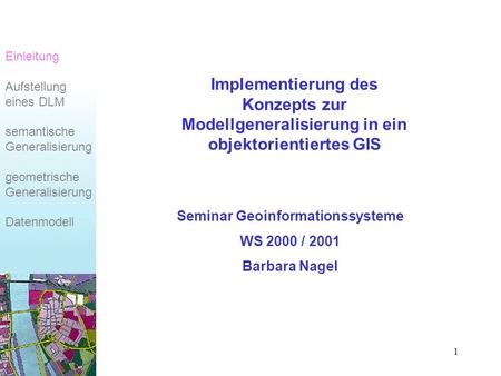 Seminar Geoinformationssysteme