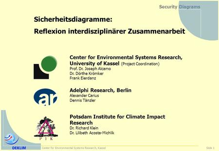 Center for Environmental Systems Research, KasselSlide 1 Security Diagrams Sicherheitsdiagramme: Reflexion interdisziplinärer Zusammenarbeit Center for.