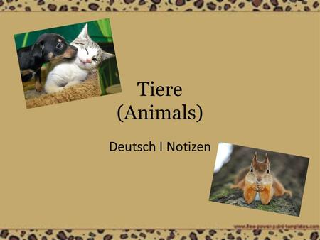 Tiere (Animals) Deutsch I Notizen.