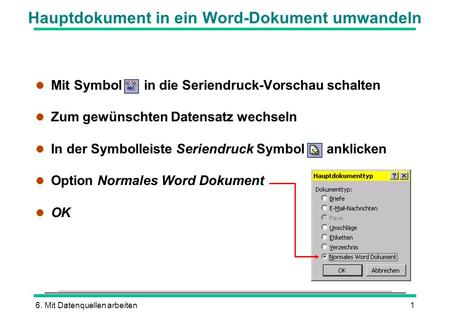 Hauptdokument in ein Word-Dokument umwandeln