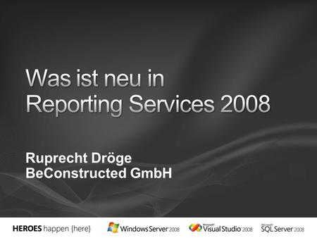 Ruprecht Dröge BeConstructed GmbH. Firma (Schulung, Beratung, Softwareentwicklung):  SQL Reihe auf MSDN-Solve https://www.microsoft.com/germany/msdn/solve/knowhow/