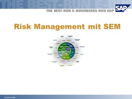 SAP AG 2001 Risk Management mit SEM. SAP AG 2001, Risk Management, Page 2 1111 1111 Der Risiko-Management Prozess 2222 2222 Risiko Management mit SAP.