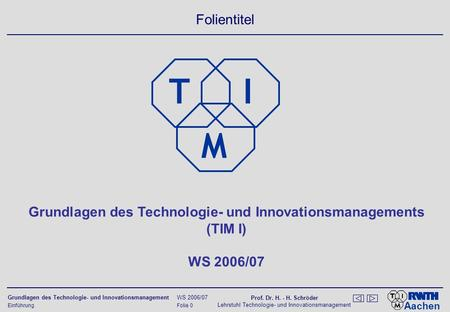 Grundlagen des Technologie- und Innovationsmanagements