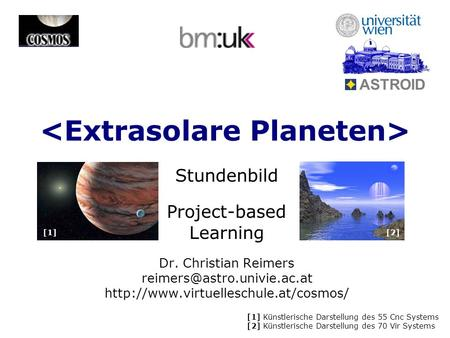 Stundenbild Project-based Learning Dr. Christian Reimers  ASTROID [1] Künstlerische Darstellung.