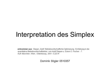 Interpretation des Simplex