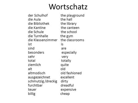 Wortschatz der Schulhof the playground die Aula the hall die Bibliothek the library die Kantine the canteen die Schule the school die Turnhalle the gym.