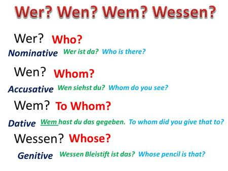 Wer? Wen? Wem? Wessen? Who? Whom? To Whom? Whose? Nominative Accusative Dative Genitive Wer ist da? Who is there? Wen siehst du? Whom do you see? Wem hast.
