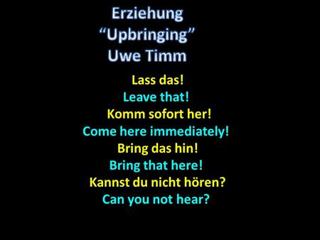Lass das! Lass das! Leave that! Komm sofort her! Komm sofort her! Come here immediately! Bring das hin! Bring das hin! Bring that here! Kannst du nicht.