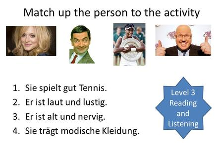 Match up the person to the activity