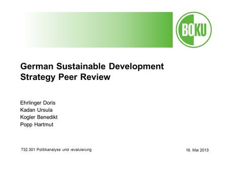 German Sustainable Development Strategy Peer Review