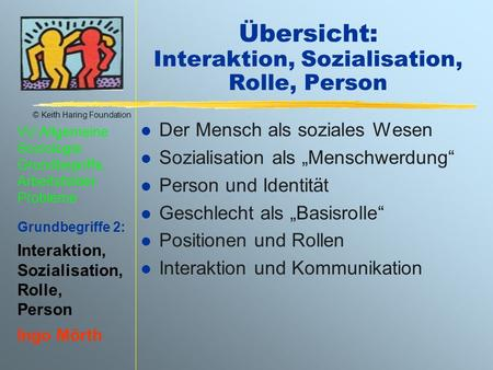 Übersicht: Interaktion, Sozialisation, Rolle, Person